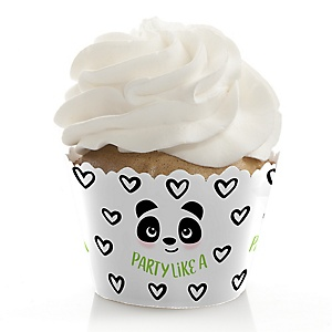 Party Like a Panda Bear -  Baby Shower or Birthday Decorations - Party Cupcake Wrappers - Set of 12
