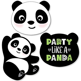Party Like a Panda Bear - DIY Shaped  Baby Shower or Birthday Party Cut-Outs - 24 ct