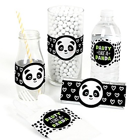 Party Like a Panda Bear - DIY Party Supplies -  Baby Shower or Birthday Party DIY Wrapper Favors & Decorations - Set of 15