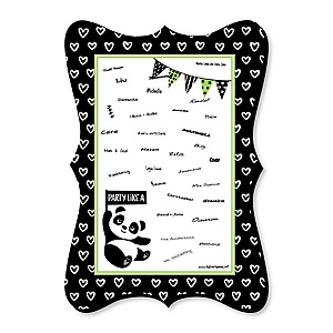 Party Like a Panda Bear - Unique Alternative Guest Book -  Baby Shower or Birthday Party Signature Mat