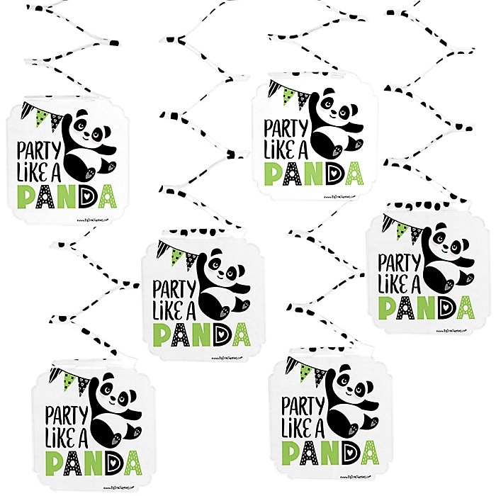 Party Like a Panda Bear -  Baby Shower or Birthday Party Hanging Decorations - 6 ct