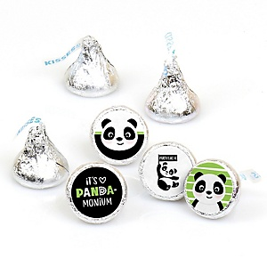 Party Like a Panda Bear -  Baby Shower or Birthday Party Round Candy Sticker Favors - Labels Fit Hershey's Kisses (1 sheet of 108)
