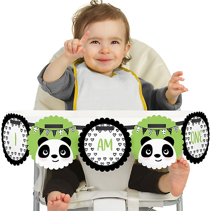 Party Like a Panda Bear 1st Birthday - I am One - First Birthday High Chair Banner