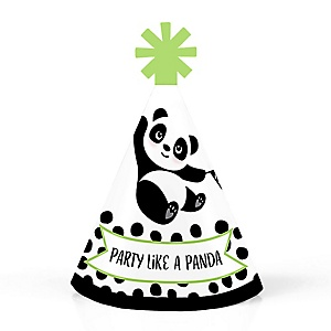 Party Like a Panda Bear - Personalized Mini Cone  Baby Shower or Birthday Party Hats - Small Little Party Hats - Set of 10