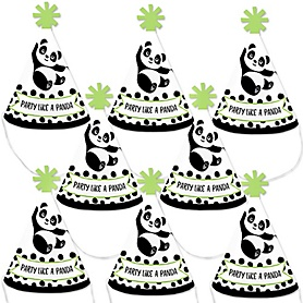 Party Like a Panda Bear - Mini Cone  Baby Shower or Birthday Party Hats - Small Little Party Hats - Set of 8