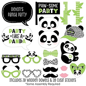 Party Like a Panda Bear - 20 Piece  Baby Shower or Birthday Party Photo Booth Props Kit