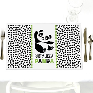 Party Like a Panda Bear - Party Table Decorations -  Baby Shower or Birthday Party Placemats - Set of 12