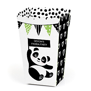 Party Like a Panda Bear - Personalized  Baby Shower or Birthday Party Popcorn Favor Treat Boxes - Set of 12