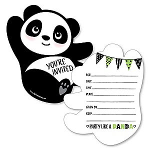 Party Like a Panda Bear - Shaped Fill-In Invitations -  Baby Shower or Birthday Party Invitation Cards with Envelopes - Set of 12