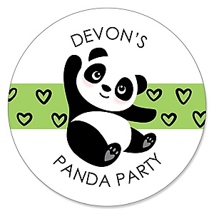 Party Like a Panda Bear - Personalized  Baby Shower or Birthday Party Sticker Labels - 24 ct