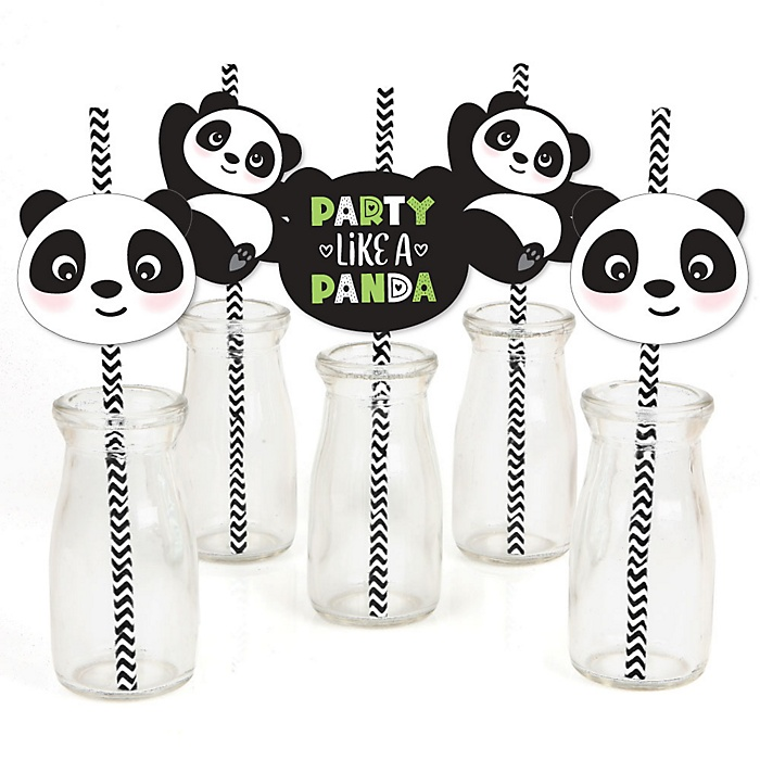 Party Like a Panda Bear - Paper Straw Decor -  Baby Shower or Birthday Party Striped Decorative Straws - Set of 24