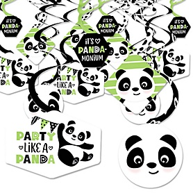 Party Like a Panda Bear - Baby Shower or Birthday Party Hanging Decor - Party Decoration Swirls - Set of 40