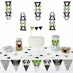Party Like a Panda Bear -  Triangle  Baby Shower or Birthday Party Decoration Kit - 72 Piece