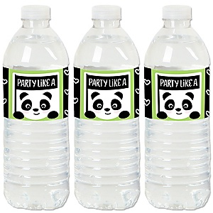 Party Like a Panda Bear - Baby Shower or Birthday Party Water Bottle Sticker Labels - Set of 20
