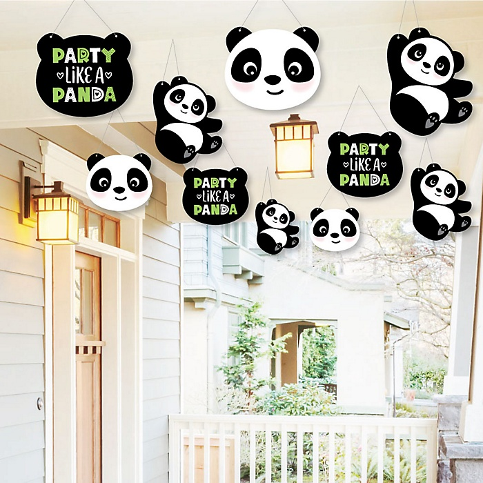 Hanging Party Like a Panda Bear - Outdoor  Baby Shower or Birthday Party Hanging Porch & Tree Yard Decorations - 10 Pieces