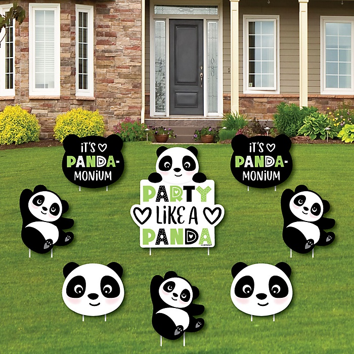Party Like a Panda Bear - Yard Sign & Outdoor Lawn Decorations -  Baby Shower or Birthday Party Yard Signs - Set of 8