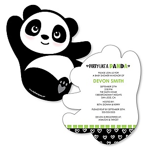 Party Like a Panda Bear - Shaped  Baby Shower Invitations - Set of 12