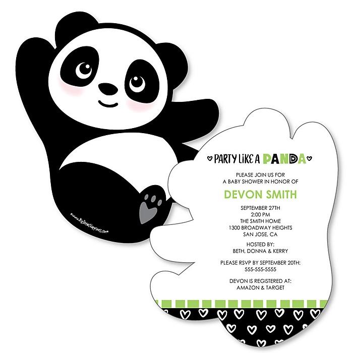 Party Like a Panda Bear - Shaped  Baby Shower Invitations - Set of 12