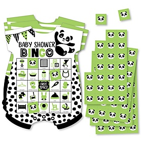 Party Like a Panda Bear - Picture Bingo Cards and Markers - Baby Shower Shaped Bingo Game - Set of 18
