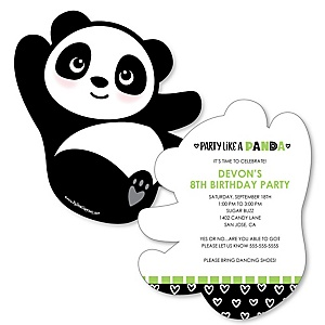 Party Like a Panda Bear - Shaped Birthday Party Invitations - Set of 12