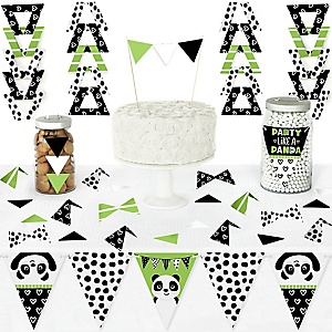 Party Like a Panda Bear - DIY  Pennant Banner Decorations - Baby Shower or Birthday Party Triangle Kit - 99 Pieces
