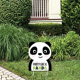 Party Like a Panda Bear - Outdoor Lawn Sign - Baby Shower or Birthday Party Yard Sign - 1 Piece