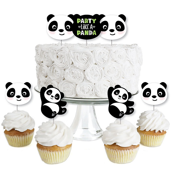 Party Like a Panda Bear - Dessert Cupcake Toppers - Baby Shower or Birthday Party Clear Treat Picks - Set of 24