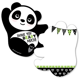 Party Like a Panda Bear - Shaped Thank You Cards - Baby Shower or Birthday Party Thank You Note Cards with Envelopes - Set of 12