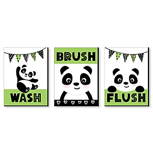 Panda Bear - Kids Bathroom Rules Wall Art - 7.5 x 10 inches - Set of 3 Signs - Wash, Brush, Flush
