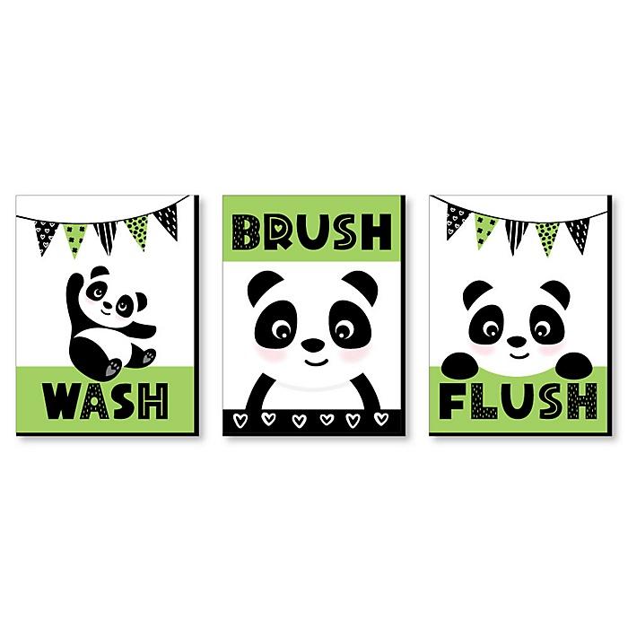 Panda Bear - Kids Bathroom Rules Wall Art - 7.5 x 10 inches - Set of 3 Signs - Wash, Brush, Flush