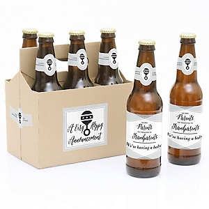 The Best Parents Get Promoted to Grandparents - Decorations for Women and Men - 6 Pregnancy Announcement Beer Bottle Labels and 1 Carrier