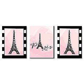 Paris, Ooh La La - Baby Girl Nursery Wall Art, Kids Room Decor & Eiffel Tower Home Decorations - 7.5 x 10 inches - Set of 3 Prints