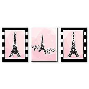 "Paris, Ooh La La - Baby Girl Nursery Wall Art, Kids Room Décor & Eiffel Tower Home Decorations - 7.5"" x 10"" - Set of 3 Prints"