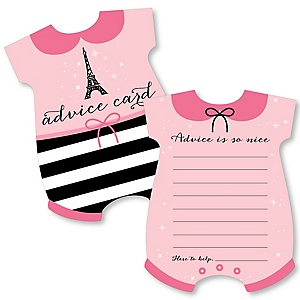 Paris, Ooh La La - Baby Bodysuit Wish Card Paris Themed Baby Shower Activities - Shaped Advice Cards Game - Set of 20