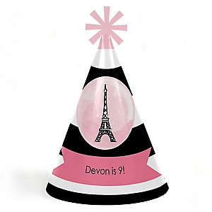 Paris, Ooh La La - Personalized Cone Paris Themed Happy Birthday Party Hats for Kids and Adults - Set of 8 (Standard Size)