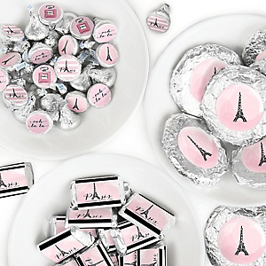 Paris, Ooh La La - Mini Candy Bar Wrappers, Round Candy Stickers and Circle Stickers - Paris Themed Baby Shower or Birthday Party Candy Sticker Favor Kit - 304 Pieces
