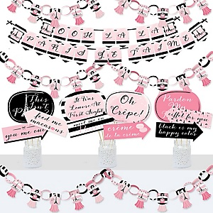 Paris, Ooh La La - Banner and Photo Booth Decorations - Paris Themed Baby Shower or Birthday Party Supplies Kit - Doterrific Bundle
