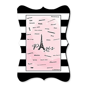Paris, Ooh La La - Paris Themed - Personalized Baby Shower Print with Signature Mat