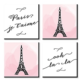 Paris, Ooh La La - Kids Room, Nursery & Home Decor - 11 x 11 inches Kids Wall Art - Baby Shower Gift Ideas - Set of 4 Prints for Baby's Room