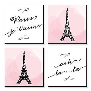 "Paris, Ooh La La - Kids Room, Nursery & Home Decor - 11"" x 11"" Kids Wall Art - Baby Shower Gift Ideas - Set of 4 Prints for Baby's Room"