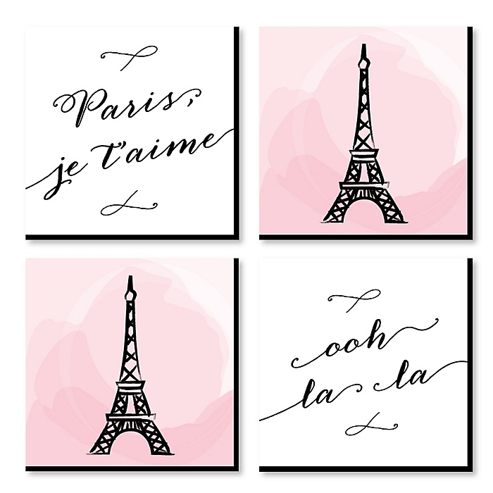 Paris, Ooh La La - Kids Room, Nursery & Home Decor - 11 x 11 inches Kids Wall Art - Baby Shower Gift Ideas - Set of 4 Prints for Baby's Room
