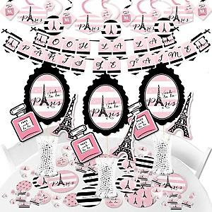Paris, Ooh La La - Paris Themed Baby Shower or Birthday Party Supplies - Banner Decoration Kit - Fundle Bundle