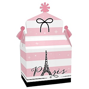 Paris, Ooh La La - Treat Box Party Favors - Paris Themed Baby Shower or Birthday Party Goodie Gable Boxes - Set of 12