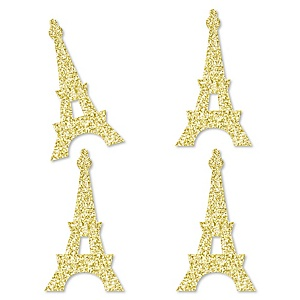 Gold Glitter Eiffel Tower - No-Mess Real Gold Glitter Cut-Outs - Paris Themed Baby Shower or Birthday Party Confetti - Set of 24