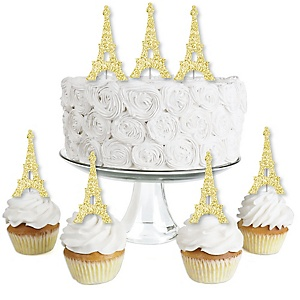 Gold Glitter Eiffel Tower - No-Mess Real Gold Glitter Dessert Cupcake Toppers - Paris Themed Baby Shower or Birthday Party Clear Treat Picks - Set of 24