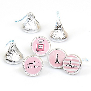 Paris, Ooh La La - Round Candy Labels Paris Themed Party Favors - Fits Hershey's Kisses - 108 ct