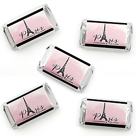 Paris, Ooh La La - Mini Candy Bar Wrapper Stickers - Paris Themed Baby Shower or Birthday Party Small Favors - 40 Count