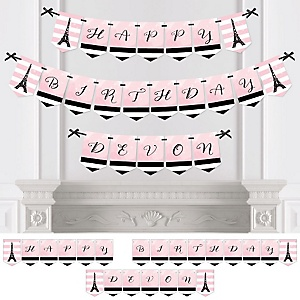 Paris, Ooh La La - Personalized Paris Themed Birthday Party Bunting Banner & Decorations