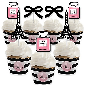 Paris, Ooh La La - Cupcake Decorations - Paris Themed Baby Shower or Birthday Party Cupcake Wrappers and Treat Picks Kit - Set of 24