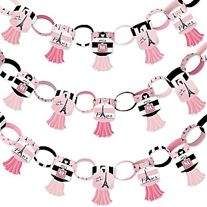 Paris, Ooh La La - 90 Chain Links and 30 Paper Tassels Decoration Kit - Paris Themed Baby Shower or Birthday Party Paper Chains Garland - 21 feet